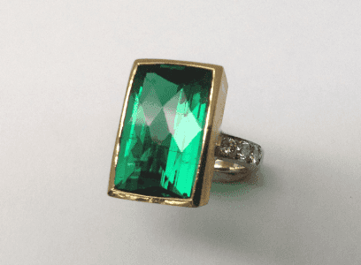 18 carat white and yellow gold, green tourmaline diamonds