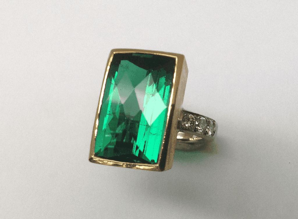 18 carat white and yellow gold, green tourmaline diamonds