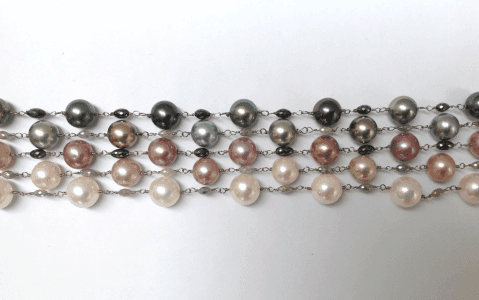 Pearl diamond white gold necklaces