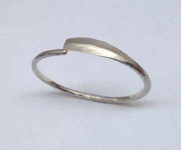 Sterling silver bangle, oar shaped