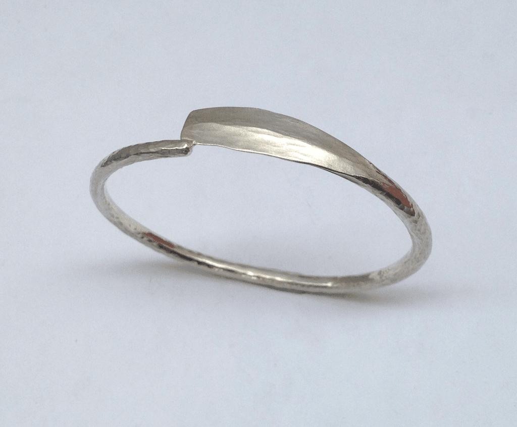 Sterling silver bangle, oar shaped