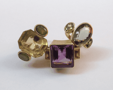 Large 18 carat gold cocktail rings, various gemstones