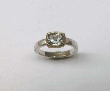 Sterling sliver 18 carat yellow gold, aquamarine