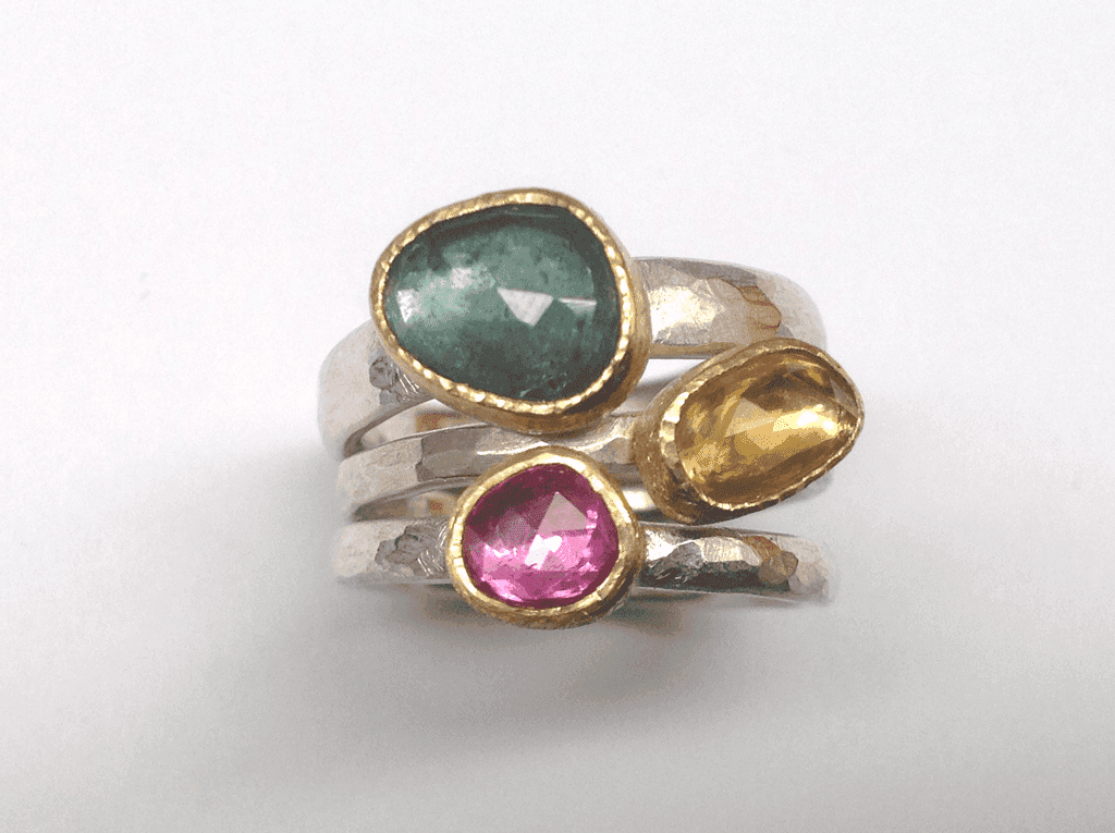 Sterling silver 18 carat yellow gold, blue yellow pink sapphire