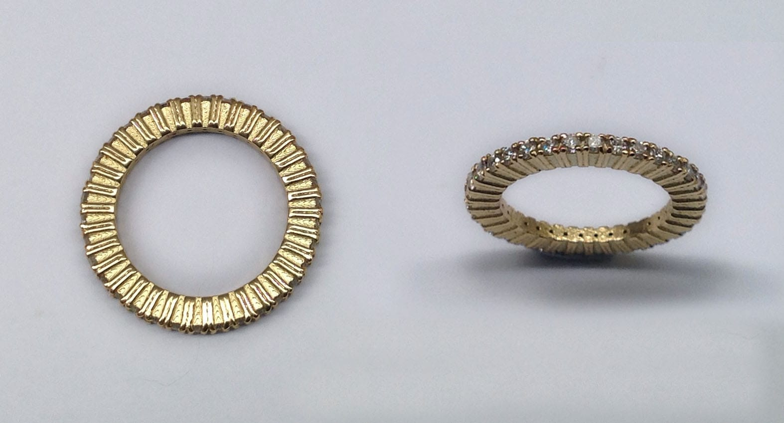 Eternity ring, 18 carat yellow gold with 38 brilliant cut diamonds