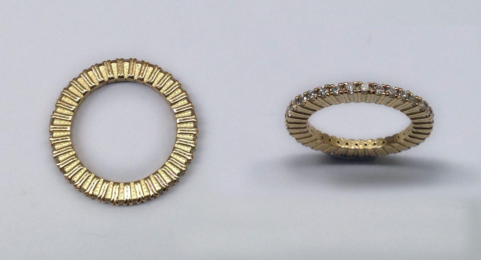 Eternity ring, 18 carat yellow gold with 38 brilliant cut diamonds