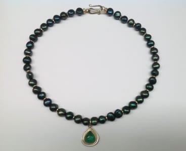 Forest green freshwater pearls, 18 carat gold, sterling silver, large drop shape emerald cabochon