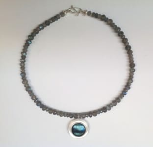 Large round labradorite cabochon set in sterling silver, faceted labradorite beads