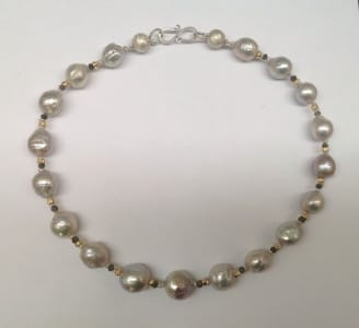 Silver grey freshwater pearls, grey quartz, 18 carat yellow gold beads, sterling silver clasp