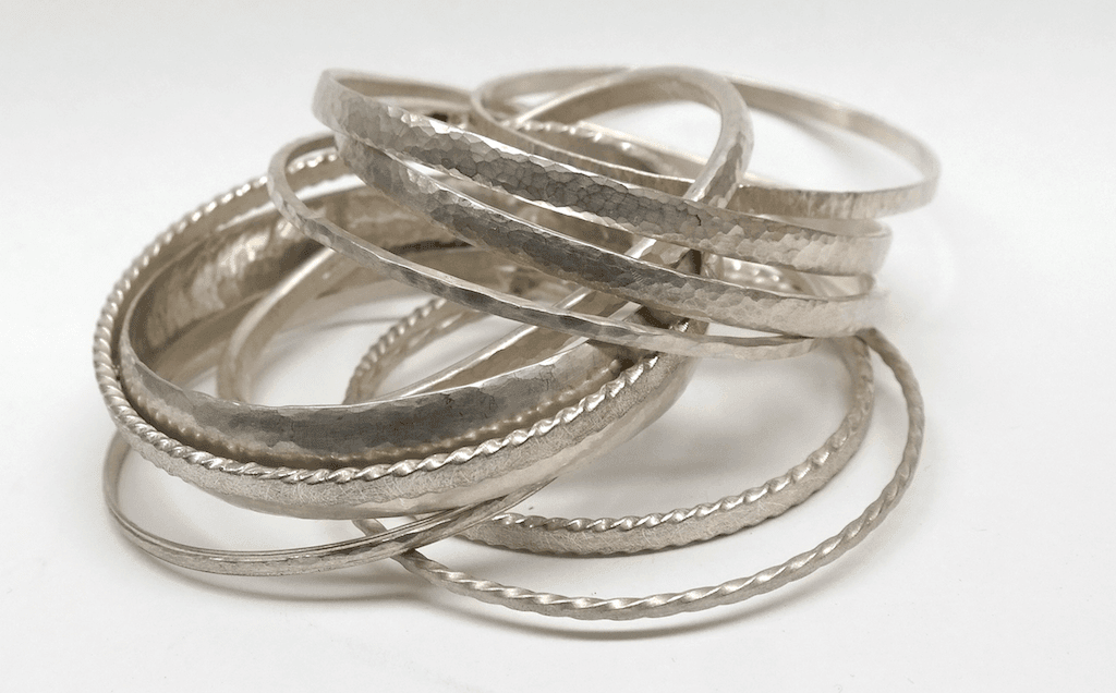 Collection of sterling silver bangles
