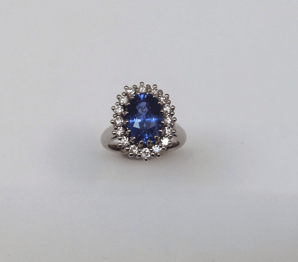Sapphire and diamond cluster ring, 18 carat white gold