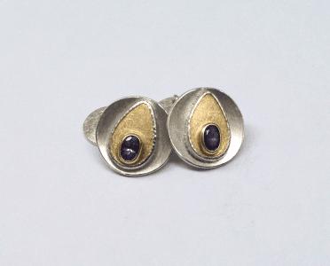 Cufflinks 18 carat yellow gold, tanzanite, sterling silver