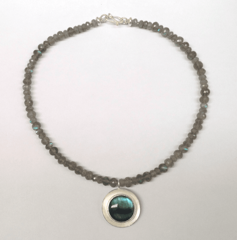 Labradorite set in sterling silver, labradorite beads