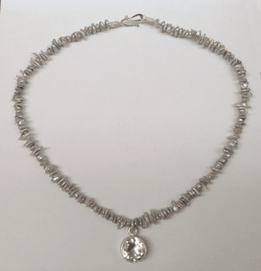 White topaz set in sterling silver, silver grey freshwater pearls