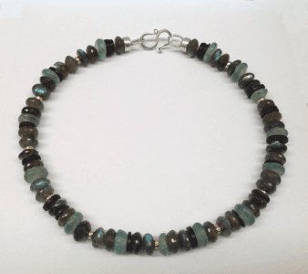 Labradorite, african glass and coconut shell beads and 18 carat yellow gold beads