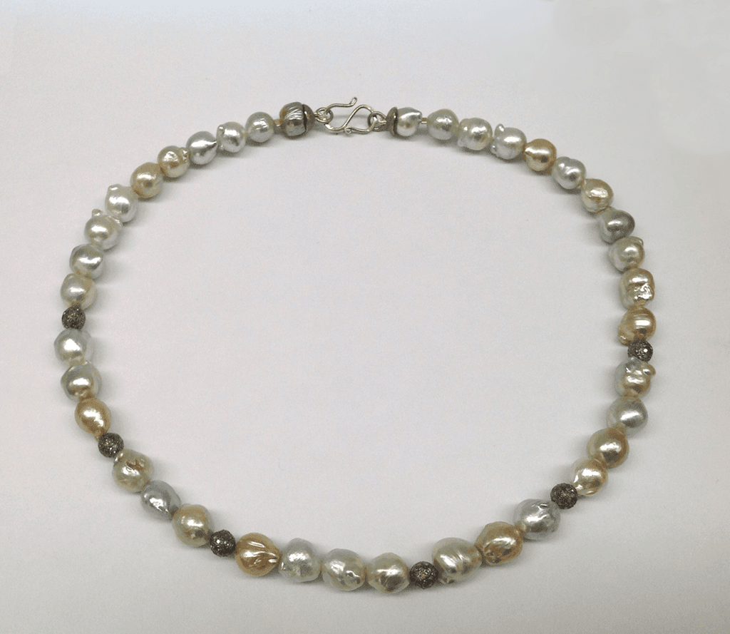 Grey and golden south sea pearls, diamond studded beads, 18 carat white gold clasp