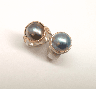 Blue pink mabe pearls set in 9 carat rose gold and yellow gold, sterling silver