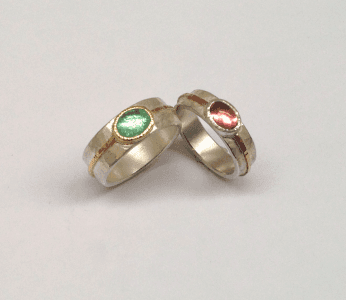 Pink and green tourmaline set in 18 carat yellow gold, 9 carat rose gold, sterling silver