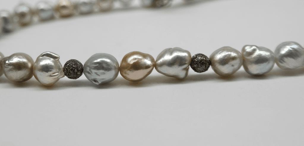 Yellow and grey south sea pearls, diamond studded beads