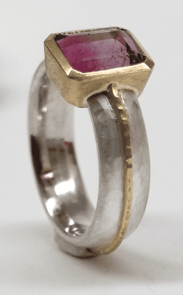 Bi-colour pink purple tourmaline set in 18 carat yellow gold, sterling silver