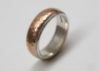 Sterling silver, rose gold detail