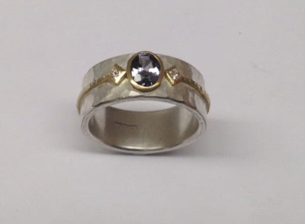 Sterling silver and 18 carat gold ring with spinel and princess cut diamonds