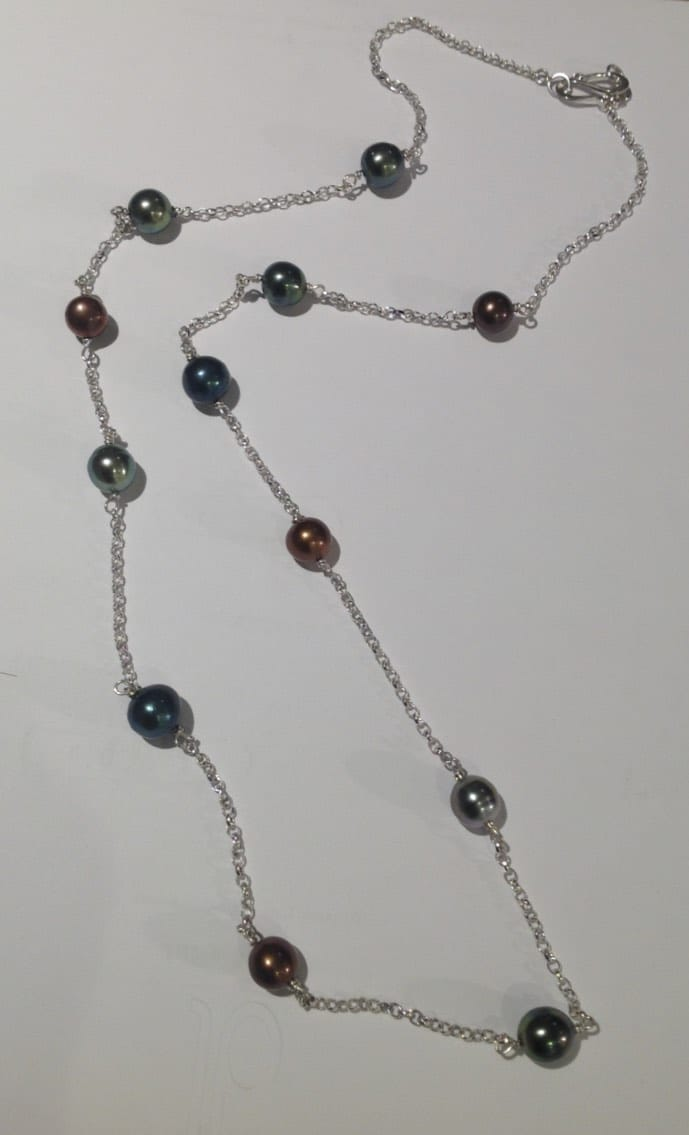 Sterling silver, freshwater pearls and Tahitian pearls necklace